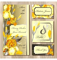 Wedding card design with yellow iris flowers vector