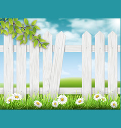 White wooden fence with broken plank vector