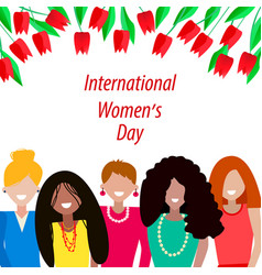 women of different nationalities with tulips vector image