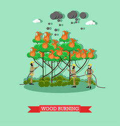 Wood burning in flat style vector