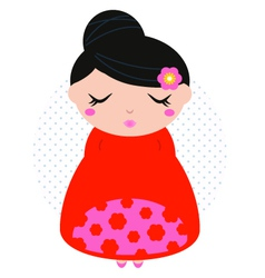 Beautiful cute colorful floral japanese girl vector image