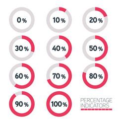 circular progress bar - ten percentage indicators vector image vector image