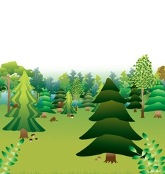 green forest with different types of trees vector image vector image