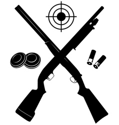 target with two shotguns and ammunition and vector image vector image