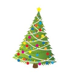 Cartoon christmas tree flat sticker icon vector image vector image