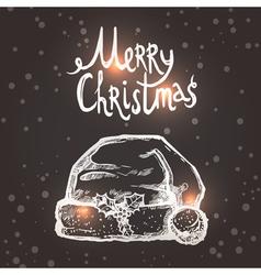 Christmas Card With Sketch Santa Hat vector image vector image
