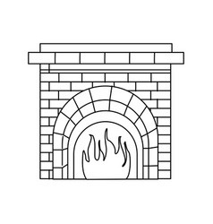 christmas chimney fire brick decoration outline vector image
