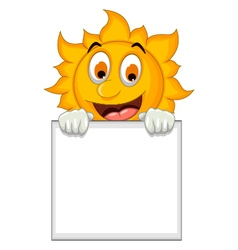 funny sun cartoon holding blank sign vector image