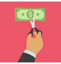Hand cutting money bill vector image vector image
