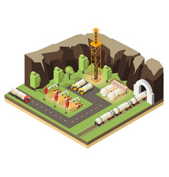isometric oil extraction concept vector image vector image