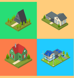 residential building card set isometric view vector image vector image