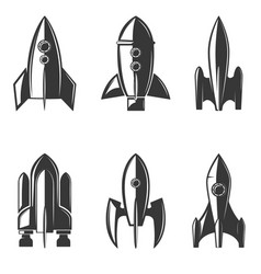 set of the rockets icons vector image