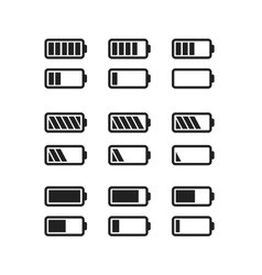 Simple black icons of batteries with different vector image vector image