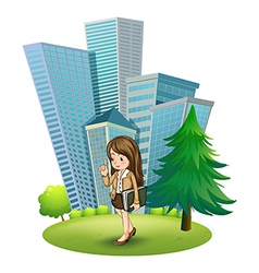 A woman near the pine tree across the tall vector image vector image