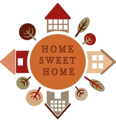 circle with different houses and trees home sweet vector image vector image