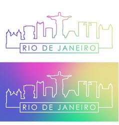 rio de janeiro skyline colorful linear style vector image vector image