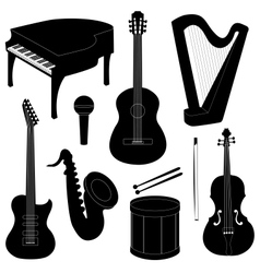 Set of musical instruments silhouettes vector image