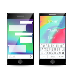 smartphone speech bubbles on phone screen vector image vector image