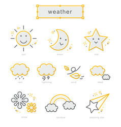 thin line icons set weather vector image vector image