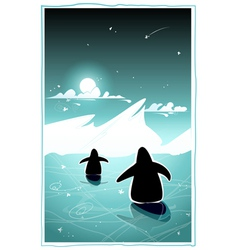Two penguins in cold arctic night vector image