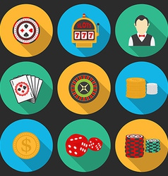 Colorful icon set on a casino theme Gambling icons vector image