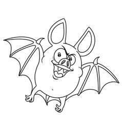 cute fat halloween bat flying outlined for vector image vector image