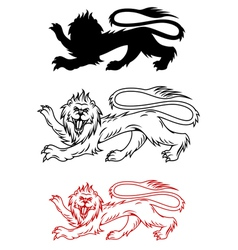 Royal lion and his silhouette for heraldry vector image