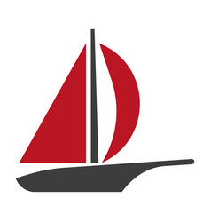 sailboat line silhouette logotype isolated vector image