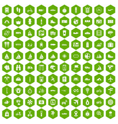 100 voyage icons hexagon green vector