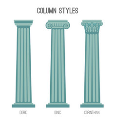 Ancient tall column styles isolated cartoon vector