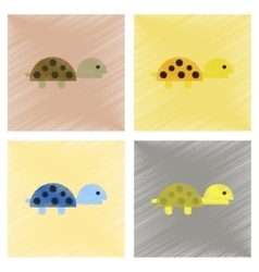 Assembly flat shading style icons sea turtle vector
