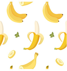 Banana seamless pattern organic yellow vector