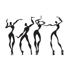 beautiful women dancing silhouettes vector image