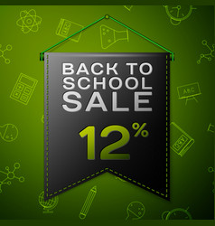 Black pennant with back to school sale twelve vector