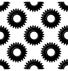 Black seamless gears or cogwheels pattern vector image