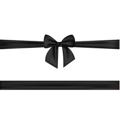 black silk ribbons and bow isolated on the white vector image