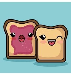 bread slice character kawaii style vector image