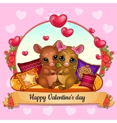 Card for Valentines Day with hamsters hugging vector image