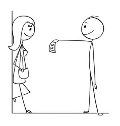 Cartoon of man giving money to prostitute woman vector
