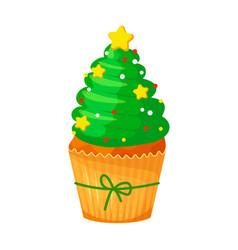 christmas and new year cupcake christmas tree vector image