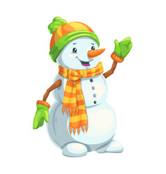 christmas snowman character with scarf and hat vector image