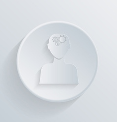 circle icon man thinks the gears in head vector image