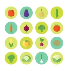 Circular icons with vegetables in flat vector image