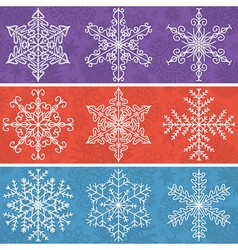 Color background with snowflakes line stile vector