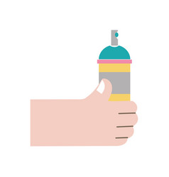 Colorful hand with aerosol spray paint art vector