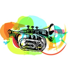 colorful trumpet vector image