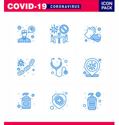 coronavirus awareness icon 9 blue icons icon vector image