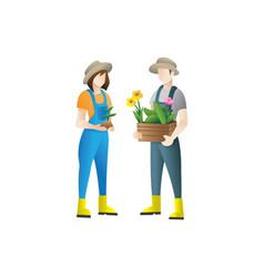 couple gardeners concept flat vector image