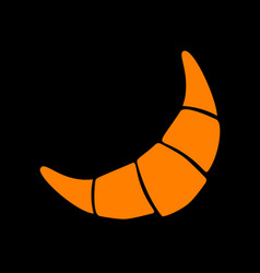 croissant simple sign orange icon on black vector image vector image