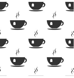 cup with tea bag icon seamless pattern vector image